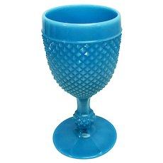 Turquoise blue milk glass Hobnail goblet