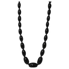 A beautiful graduated whitby jet necklace