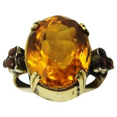 Pinchbeck metal and silver natural citrine and ruby ring