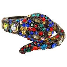 Stunning 1990s crystal snake bangle
