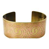 Original vintage copper on gold celtic knot cuff bangle