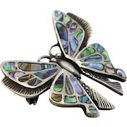 Vintage silver abalone shell butterfly