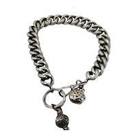 Victorian engraved silver charm bracelet