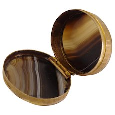Beautiful Banded agate edwardian trinket/pill box