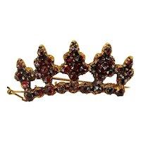 Antique Bohemian garnet gilt crown brooch