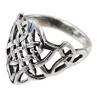 Vintage silver celtic love knot ring