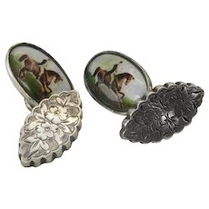 Hand painted silver enamel Victorian horse riding cufflinks
