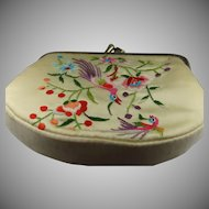Pretty petit point purse in satin and silk