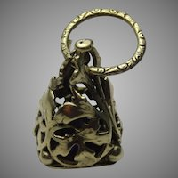 Vintage intricate fob seal charm pendant with engraved ring