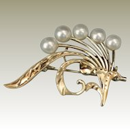 14k Yellow Gold Vintage Pearl Spray Pin