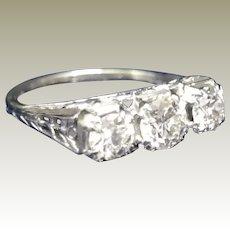 Antique, Edwardian,18k white gold, 3 diamond filigree  ring