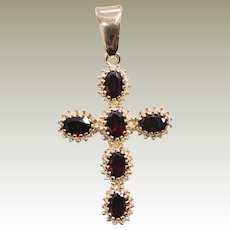 Vintage 18k Yellow Gold Garnet Set Cross