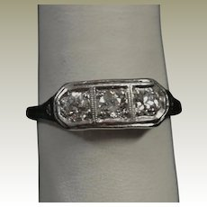 Antique 1920's -1930's Diamond Set Platinum Filigree 3 Stone Ring