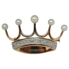 14 Rose Gold Crown with pearls and diamonds.