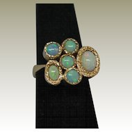 1960's Modernist 18K Yellow Gold Opal Ring.