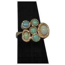 1960's Modernist 18K Yellow Gold Opal Ring.
