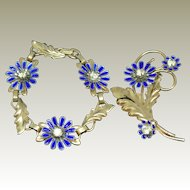Vintage Gold Filled Barclay Enamel and Rhinestone Bracelet with matching Pin