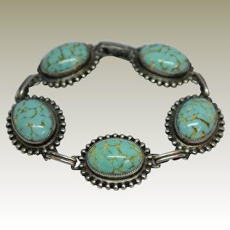 Vintage Sterling Silver Turquoise Bracelet by Danecraft