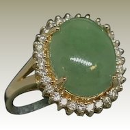 14K Vintage Jade and Diamond Ring.