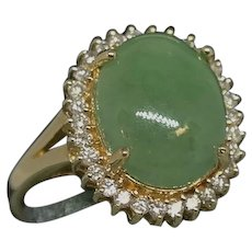 14K Vintage Jade and Diamond Ring.