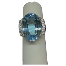 Vintage 14 K Yellow Gold Sky Blue Topaz accented with Diamonds