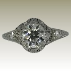 14K, White Gold, Vintage, Edwardian, Diamond Engagement Ring.