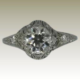 14K, White Gold, Vintage, Edwardian, Diamond Engagement Ring.
