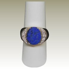 14K Men's Lapis and Diamond RING