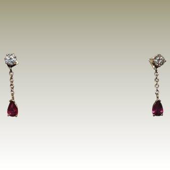 14K Yellow Diamond Stud Earrings with Ruby Jackets.