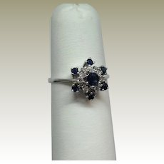 14K White Gold Diamond and Natural Sapphire Ring.