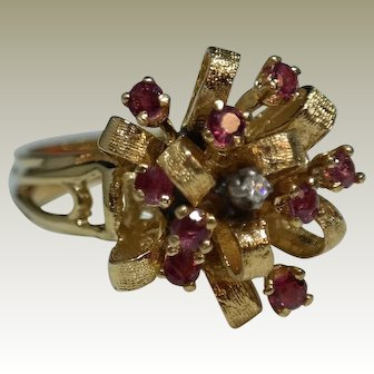 """1940""""s 14 K Yellow Gold Natural Rubies with an accenting Diamond."""