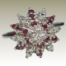 14k White Gold Diamond Ring accented with Natural Rubies.