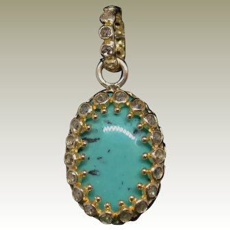 Vintage 18k Yellow Gold Turquoise Pendant accented with rose cut diamonds.