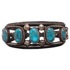 dc0ac3dfc Franck Peshlakai, Navajo, Turquoise and Silver Vintage Cuff Bracelet.