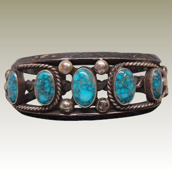 Franck Peshlakai, Navajo, Turquoise and Silver Vintage Cuff Bracelet.