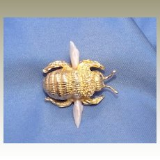 Vintage 14K Bumble Bee Pin with Sapphire Eyes and Fresh Water  Pearl Wings