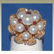 1940's 14k Yellow Gold Pearl and Ruby Flower Ring