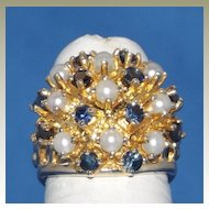 1950's 14k  Yellow Gold, Pearl and Sapphires Set Dome Ring.