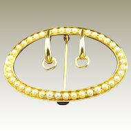 Vintage 14k Yellow Gold Shoe Buckle Pin set with Seed Pearls.