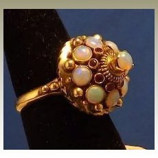 Vintage 18 karat Yellow Gold, Opal and Ruby Ring