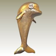 Lovable 14k Yellow Gold Dolphin Pin with Diamond Set Eye.