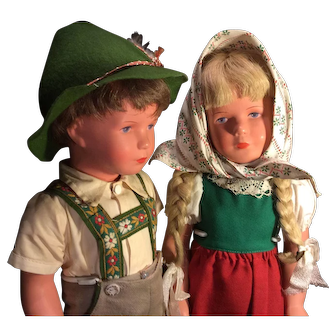 Pair Celluloid K. Kruse Dolls