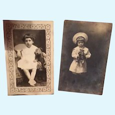 Two Photos of Children with Teddies