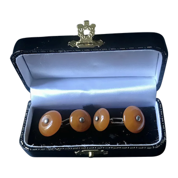 Amber and sterling silver cuff links  with the box