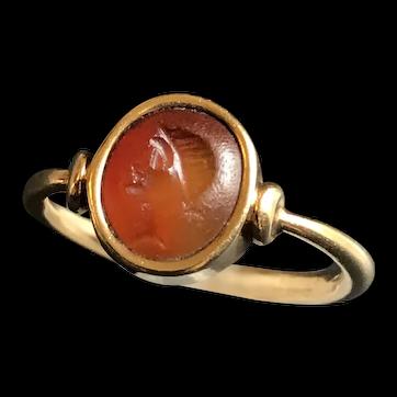 Georgian 18kt gold and carnelian  intaglio ring