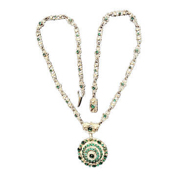 Antique Austro Hungarian, silver and green paste stones necklace