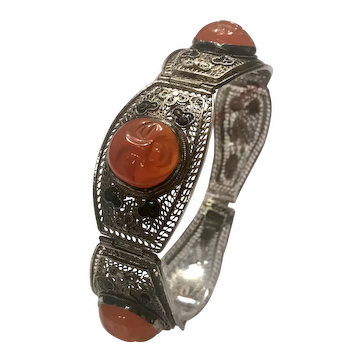 Antique Chinese silver and moon face carved carnelian bracelet