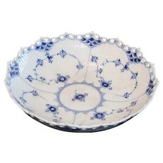 Royal Copenhagen Blue Fluted Full Lace Serving Bowl, 1947