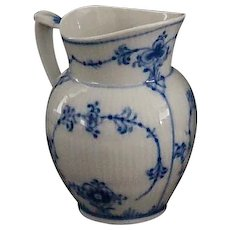 Royal Copenhagen Blue and White Fluted Full Lace Small Creamer, 1965