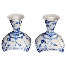 Vintage Royal Copenhagen Blue and White Fluted Full Lace Candle Holders, 1969